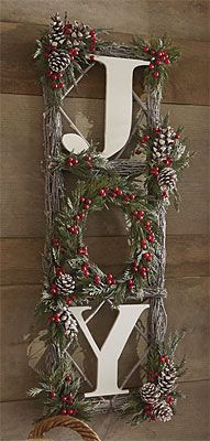 Joy Hanging Decor (DIY Inspiration) - Recreate using photo frames, twigs, pine cones etc.
