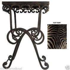 Hand Forged Iron Scroll Accent Table w/ Zebra Top African Decor New Free Ship