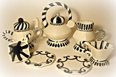 Black and white Tea set  miniature tea set by AshleyKaaseCeramics