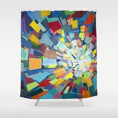 Quantum Kaleidoscope Shower Curtain  Customize your bathroom decor with unique shower curtains designed by artists around the world. Made from 100% polyester our designer shower curtains are printed in the USA and feature a 12 button-hole top for simple hanging. The easy care material allows for machine wash and dry maintenance. Curtain rod, shower curtain liner and hooks not included. Dimensions are 71in. by 74in.