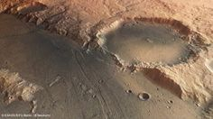 Mars, 02/2013 - Basaltic sands in Amenthes Planum. This darker regions are covered in wind-transported basaltic sands. (ESA's Mars Express image).