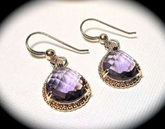 Amethyst Earrings  Czech glass  Gold filled  by QueenMeJewelryLLC, $29.99