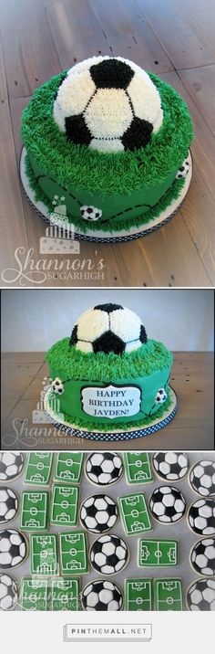 Soccer buttercream cake with soccer half soccer ball as the second tier and fondant accenting. Matching royal icing painted shortbread cookie soccer fields and balls. Soccer Birthday Cakes, Birthday Cake Kids Boys, Birthday Cake For Him, Cool Birthday Cakes, Birthday Cupcakes, Soccer Ball Cake, Soccer Party, Soccer Cakes, Football Soccer