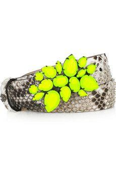 Roberto Cavalli neon-clasp python belt