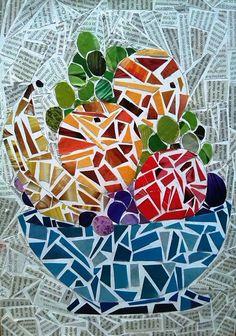 Mosaico feito com papel de revista