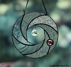 Círculo abstracto vidrieras Suncatcher