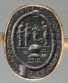 Magic Gem: Egyptian deities and uterine symbol, surrounded by the Uroborosschlange  Roman, Empire  Second Second half - 1 Half 3 Century AD