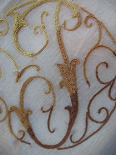 Vintage Chiffon Scarf Delicate Tambour Embroidery Monogram T Elegant Sheer! Tambour Embroidery, Embroidery Monogram, Beauvais, Chiffon Scarf, Pompadour, Monograms, Point, Gold Necklace, Delicate
