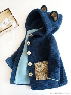 Crocheted cardigan for children «Knitwear, baby knitwear, knitting models … … Sewing Baby Clothes, Knitted Baby Clothes, Baby Sewing, Knitted Baby Outfits, Knitting For Kids, Baby Knitting Patterns, Crochet For Kids, Crochet Cardigan, Knit Crochet