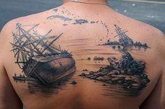Boat Back Tattoo for Men - 100 Boat Tattoo Designs  <3 <3