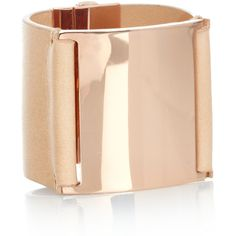 Maison Martin Margiela Rose gold-plated and leather cuff found on Polyvore