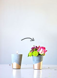 diy cement candle vases