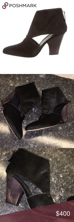 Zero+Maria Cornejo Ona Bootie Gorgeous black pony hair cut out Booties. Wearing is only on soles, pictures don't do them justice! Worn a few times- sturdy and super comfortable! Size 7.5- true to size! No low ball offers please! Thank you! z#1218 Zero + Maria Cornejo Shoes Ankle Boots & Booties