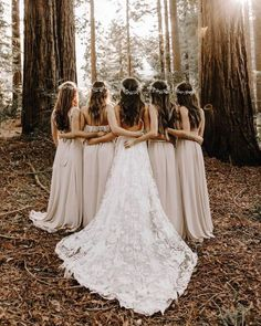 woodland forest wedding for bohemian bride, flower crowns, beige bridesmaid dresses, lace wedding gown with cathedral length train, Eight Times The Bridal Party Shined In Show Me Your Mumu Wedding Picture Poses, Wedding Photography Poses, Creative Wedding Photography, Wedding Photo List, Photographer Wedding, Photography Tips, Boho Wedding, Dream Wedding, Wedding Ideas