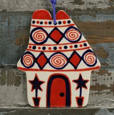 Cottage Ceramic House Ornament Hand Made and Painted - Both Sides Decorated *
