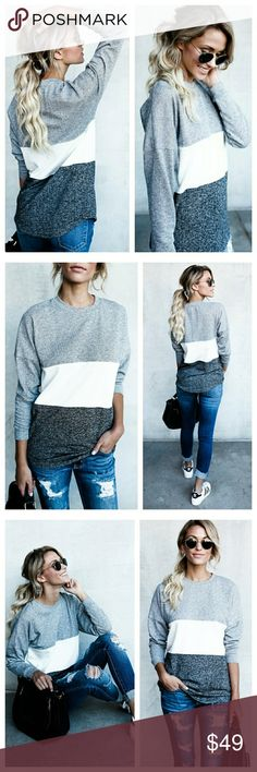 RESTOCK gray color block top New comfy and sporty gray and white color block cotton knit long sleeve pullover top  65% polyester 35% cotton  *Restock is on the way, this will ship out in 3-7 business days. Best seller! Tops Sweatshirts & Hoodies