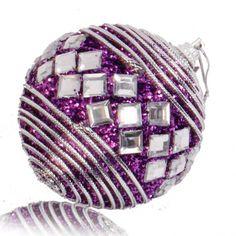 8CM Rhinestone Decorated Christmas Ball Foam Ball Christmas Tree Decoration Purple