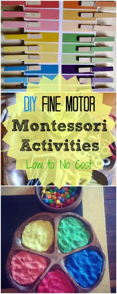 DIY Fine Motor Montessori Activities....love the threading and the color matching for preschoolers!