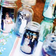 More uses for mason jars at weddings! Celebrating the love of all our guests is something I want at our wedding! I'm planning on filling mason jars with wedding photos of family, close friends, and ourselves and scattering them throughout the venue. Mason Jars, Mason Jar Centerpieces, Centerpiece Ideas, Vases, Photo Centerpieces, Canning Jars, Candle Jars, Wedding Jars, Our Wedding