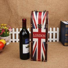 Fashion Union jack caja de vino Exclusivo ventas de la fábrica Antigua Retro Union Jack caja de vino caja de regalo ideas para regalos(China (Mainland))