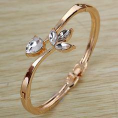 Rose Gold Hollow Flower Rhinestone Pretty Bracelet Bangle   eBay