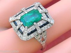 Estate Art Deco 1 50ctw Diamond 3ct Emerald Black Onyx Platinum Cocktail Ring www.MelsAntiqueJewelry.com