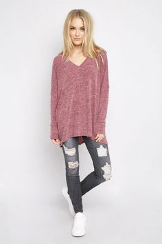Oversized V-Neck Knit Top Tops GS-LOVE