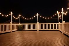 Great idea: String lights around a deck or outside space to add a romantic, swanky feel when they are turned on at night. They remind me of a fun restaurant on the coast with lots of dancing and good times.