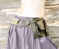 Olive leather hip bag $78.00