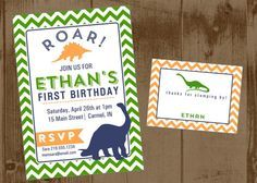 Dinosaur Party Printable Set - Invite, Bottle Wrap, Cupcake Toppers, Straw Flags, Pennant