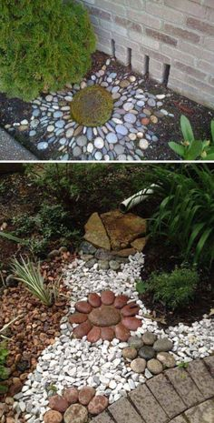 Make an Artistic Pebble Mosaic to Decorate Your Downspout Landscape backyard landscaping landscaping garden landscaping Small Backyard Landscaping, Landscaping With Rocks, Landscaping Tips, Landscaping Software, Sloped Backyard, Hillside Landscaping, Landscaping Melbourne, Backyard Farming, Modern Landscaping