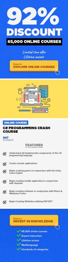 C# Programming Crash Course Programming Languages, Development #onlinecourses #onlinecollegedegrees #onlineprogramsmakemoneyDive deep into C# programming Knowing the suite of C languages developed my Microsoft is a guaranteed career booster. They're powerful, in-demand, and can create almost any kind of application or software under the sun. However, they're not exactly the most beginner fri...