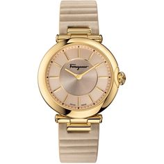Women's Salvatore Ferragamo Style Women's Watch ($419) ❤ liked on Polyvore featuring jewelry, watches, beige, jewelry & watches, women's watches, salvatore ferragamo watches, analog watches, analogue watch, quartz wrist watch and quartz jewelry