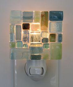 Sea glass Mosaic Nightlight/ mosaic nightlight/mosaic/ mosaic art/ mosaic light/ nightlight/ kids decor/ beach glass/sea glass/ find it at www.graycglass.com