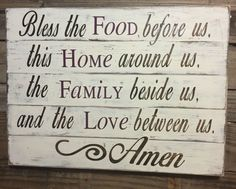 Bless The Food Before Us Wood Kitchen Sign Dining Room Sign Pallet Wood Sign Rustic Chic Kitchen Shabby Chic Kitchen Vintage Wood Decor by SouthernChicMania on Etsy https://www.etsy.com/listing/232993137/bless-the-food-before-us-wood-kitchen