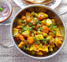 Aloo gajar matar sabji - Dry potatoes, carrots and peas curry