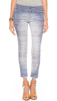 MOTHER The Looker Skinny Ankle Fray Jeans - print and wash direction
