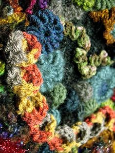 another closeup from my knit and crochet freeform wallhanging