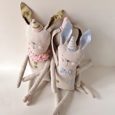 New bunnies. Handcrafted in linen with pima cotton crochet details by Fournier #madeinusa
