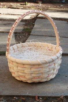 I made these two baskets for my granddaughter for Easter, but I also envision them as the perfect flower girl basket.    Out of the Woods baskets are