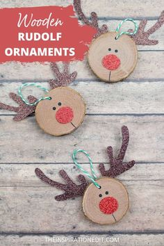 Upcycle a slice of wood and make it into a cute Rudolph Christmas Ornament you've ever seen. Kids can also help in decorating this wooden ornament with Rudolf's shinny red nose. Visit the link for the instructions for this adorable Christmas craft. #Christmas #Kids #christmasdecor #christmascraft WoodSliceCraft #Reindeer #Rudolph Diy Christmas Decorations Easy, Wooden Christmas Ornaments, Real Christmas Tree, Easy Christmas Crafts, Handmade Decorations, Kids Christmas, Diy Crafts For Kids, Rudolph Christmas, Christmas Lanterns