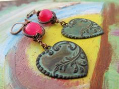 Valentine earrings neon pink green heart by Gypsymoondesigns, $25.00