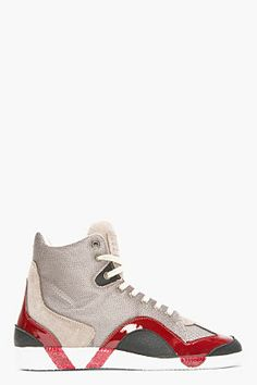 MAISON MARTIN MARGIELA Grey Textured Patent-Trimmed High-Top Sneakers