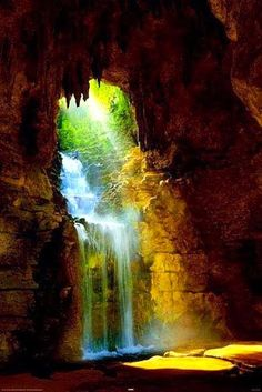 Amazing Cave Waterfall,  Parc des Buttes Chaumont, Paris, France. By Mike Dobel  Book 2 - Reyna  Brishen during drought Beautiful World, Beautiful Places, Beautiful Pictures, Amazing Places, Stunningly Beautiful, Beautiful Waterfalls, Beautiful Landscapes, Places Around The World, Around The Worlds