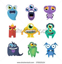 Cute monsters vector set in cartoon style. Alien cartoon character, creature collection fun illustration - stock vector
