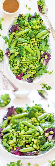 Green Powerhouse Salad with Sesame-Ginger Vinaigrette (vegan, GF) - Want to feel better, stronger, healthier? This salad does wonders!