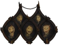 Longhorn Hat Rack with Five Painted Ladies from a brothel in central Texas (1890)