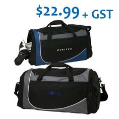 September Promotion, $22.99, Minimum 25 pieces. Swoosh sport duffel made of 600 denier polyester/420 denier dobby with large main compartment with D-Shaped zippered opening, Includes adjustable/detachable shoulder strap, a front zippered pocket for additional storage, side zippered shoe pocket and external molded protective feet on the bottom for added protection. Tax, setup and artwork fees apply. Offer ends September 30, 2015. Dobby, Shoulder Strap, Promotion, September, Abs, Shoe, Pocket, Storage, Artwork