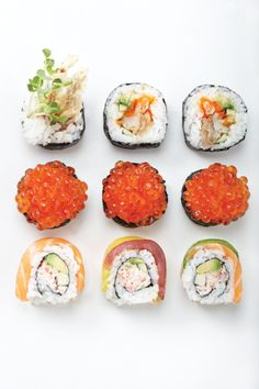 purifist:    the little red things inside the sushi in the middle are actually salmon eggs, i tried some and they're actually amazing