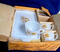 Vintage Anchor Hocking Fire King Milk Glass 8 Piece Wheat Snack Set Original Box #AnchorHocking